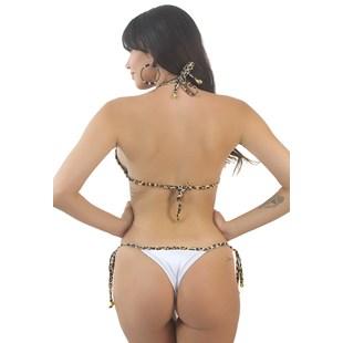 Biquini Cortininha Calcinha de Amarrar Branco e Oncinha REF: BK98