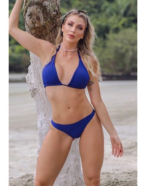 Biquini Cortininha Calcinha Lisa Azul REF: BK113