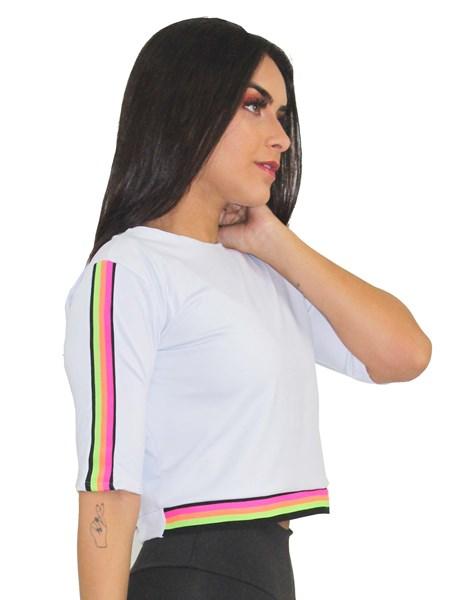 Blusa Casaco Branca com Detalhe Barra Eslastico Colorfull REF: CSC7