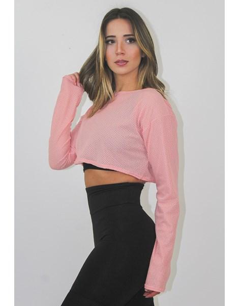 Blusa Cropped Feminina Fitness Dry Rosê REF: LX137