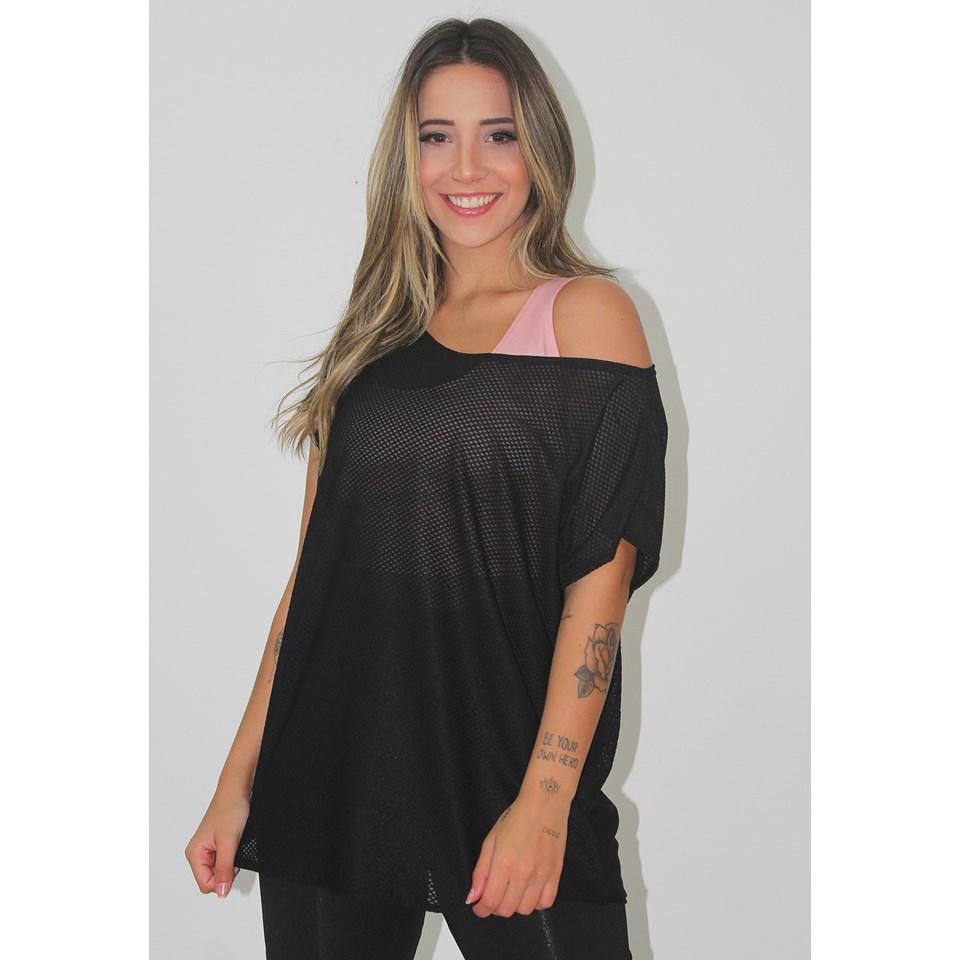Blusa Feminina Fitness Transparente Dry Preto REF: LX123