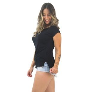 Blusa Feminina Lisa Manga Curta Preto REF: VSC10