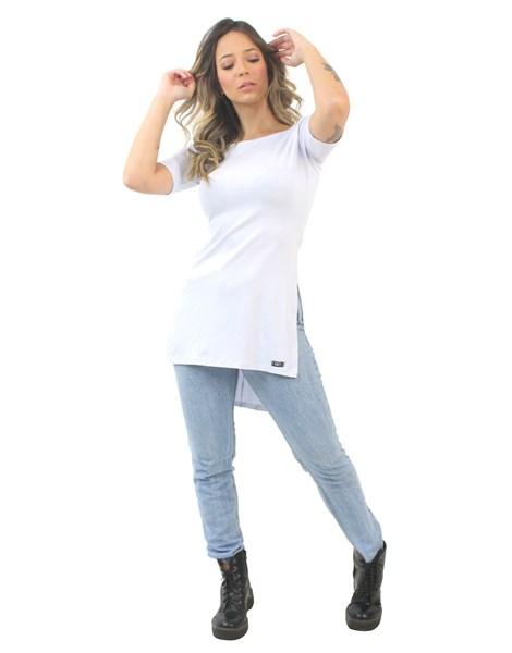 Blusa Feminina Long Line Branco REF: VSC12