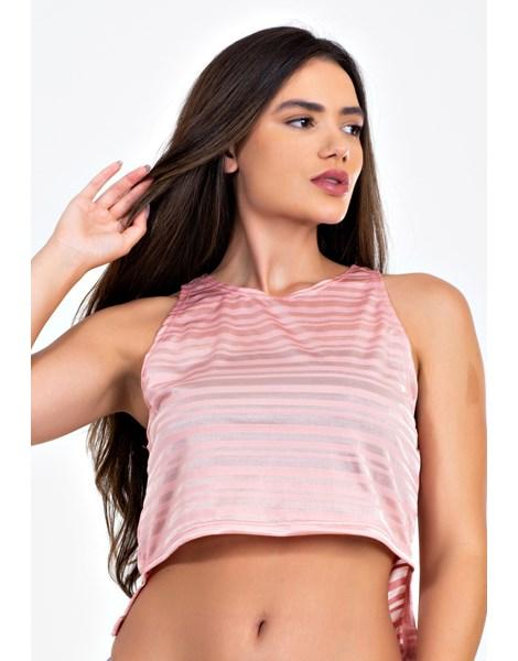 Blusa Feminina Rose Traparente Com Cropped Preto Tomara que Caia REF: LX288