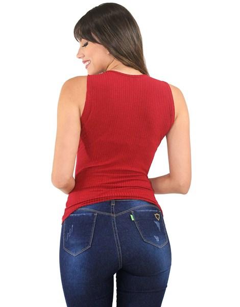 Blusa Regata Tecido Canelado Detalhe No Decote REF: VXN23