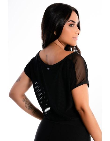 Blusinha Cropped Preto Transparente Com Cropped Tomara que Caia REF: LX291