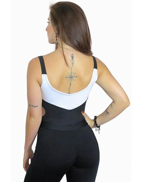 Body Alcinha Preto e Branco com Detalhe na Cintura REF: B0013