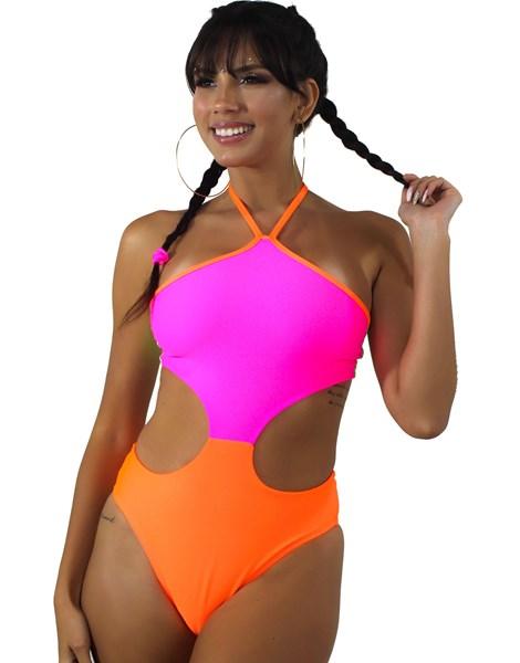 Body Com Detalhe Aberto na Cintura Laranja e Rosa Neon Multicolorido REF: BN18