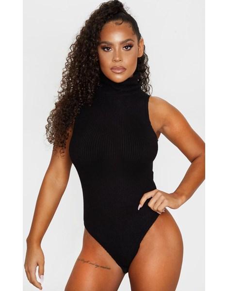 Body Feminino Canelado Gola Alta Sem Mangas REF: BLC11
