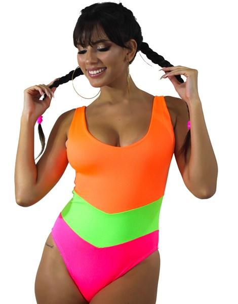 Body Neon Com Recortes De Amarrar Colorido Multicolorido REF: BN5