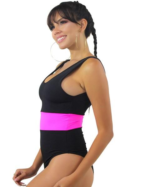 Body Preto com Faixa Neon Rosa REF: BN17
