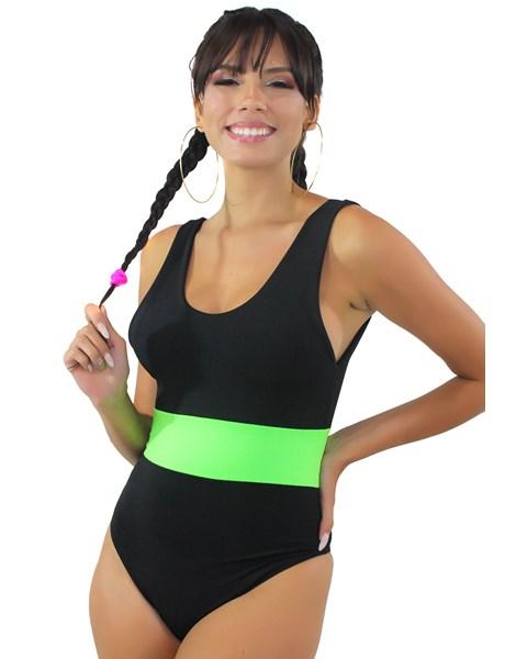 Body Preto com Faixa Neon Verde REF: BN15