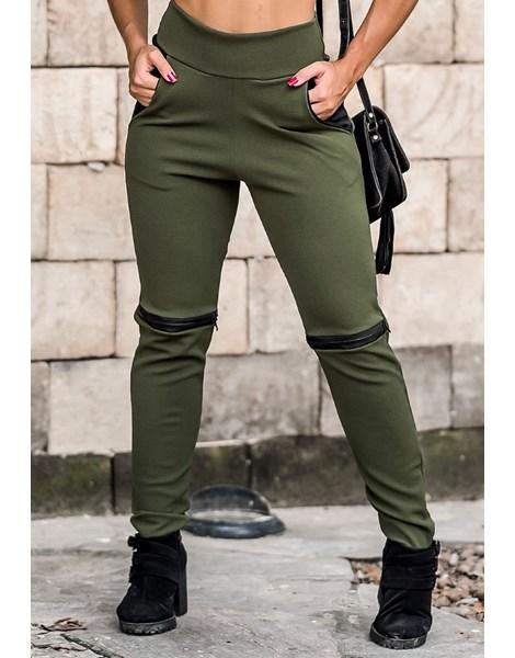 Calça Feminina Detalhe Ziper Joelho e Bolso Verde REF: TCP35