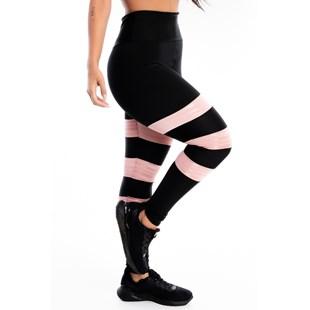 Calça Legging 3 Listras Preto com Rose REF: LX218
