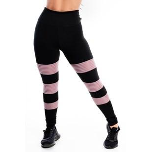 Calça Legging Detalhe 3 Listras Rose Perna REF: LX250