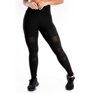 Calça Legging Detalhe Perna Preta REF: LX242