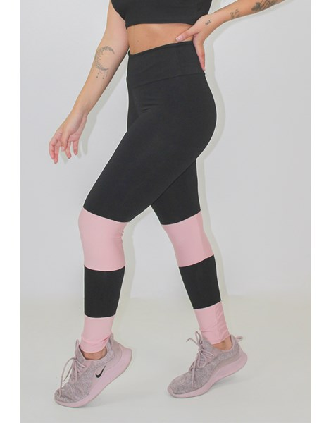 Calça Legging Fintess Preta Detalhe Rosê REF: LX145