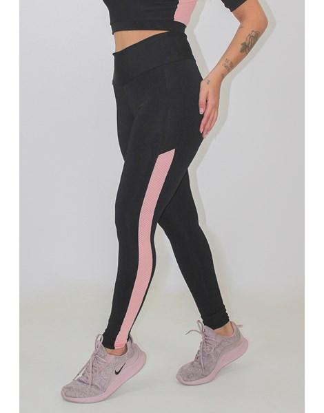 Calça Legging Fitness 2 Cores Preto com Rosê REF: LX127