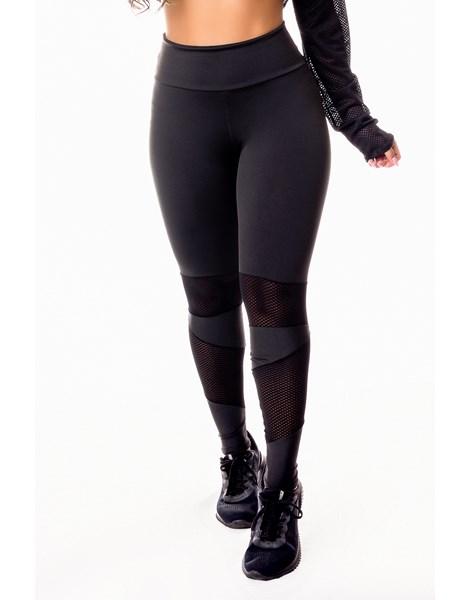 Calça Legging Fitness Academia Preta com Detalhe em Tela Dry Fit Cintura Alta REF: SV22