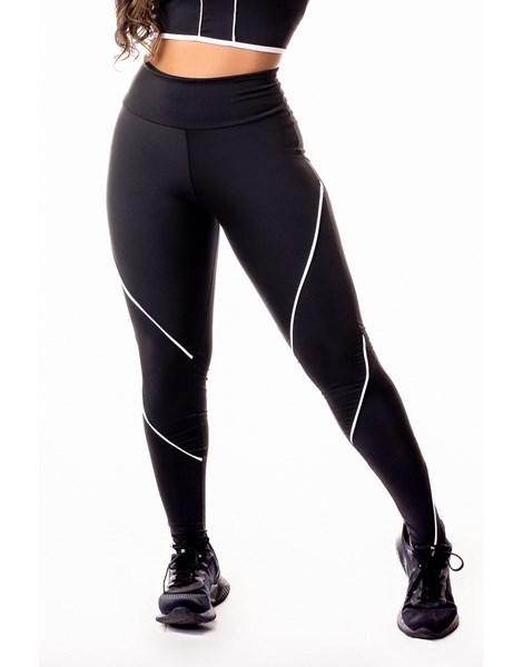 Calça Legging Fitness Academia Preta com Detalhe Lateral em Vivo Branco Cintura Alta REF: SV36