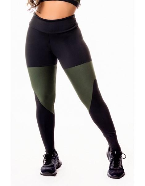 Calça Legging Fitness Academia Preta com Detalhes em Verde Militar Cintura Alta REF: SV2