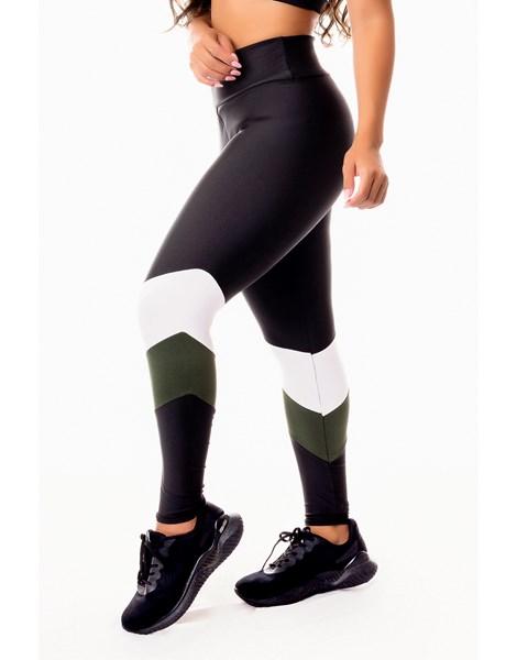Calça Legging Fitness Academia Preta com Verde Militar e Branco Cintura Alta REF: SV10