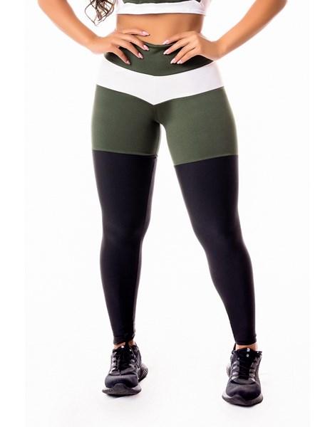 Calça Legging Fitness Academia Preta com Verde Militar e Branco Levanta Bumbum Cintura Alta REF: SV30