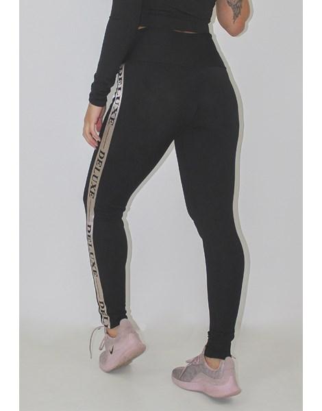 Calça Legging Fitness Deluxe Preta Detalhe Elastico REF: LX94