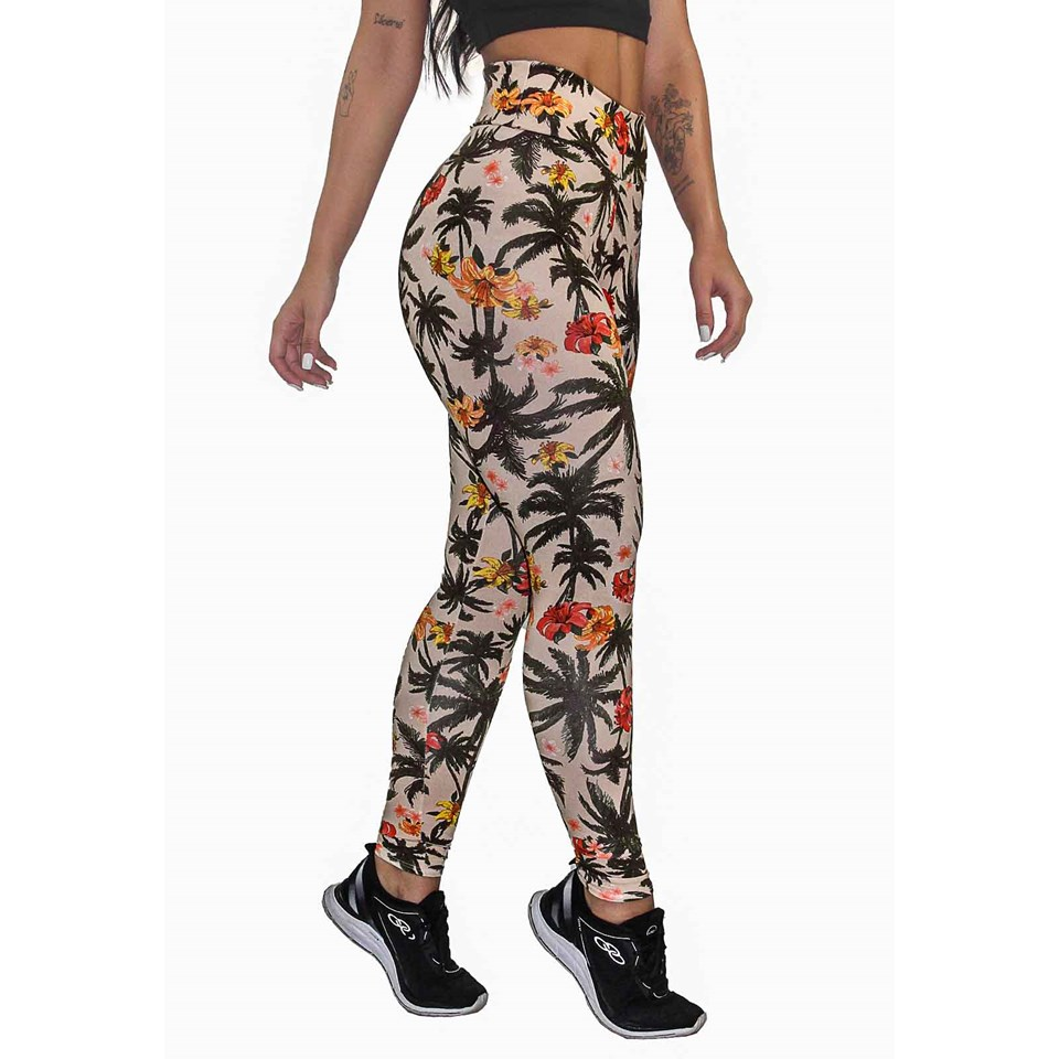 Calça Legging Fitness Estampada Beige Floral Palm Tree REF: OUT-LXE02