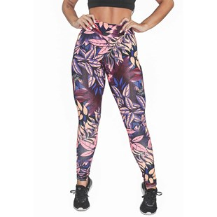 Calça Legging Fitness Estampada Blue Floral with Lilac REF: OUT-LXE07