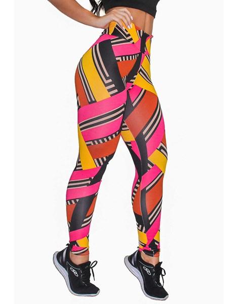 Calça Legging Fitness Estampada Colored Stripes REF: OUT-LXE04