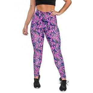 Calça Legging Fitness Estampada Floral Lilac REF: OUT-LXE01
