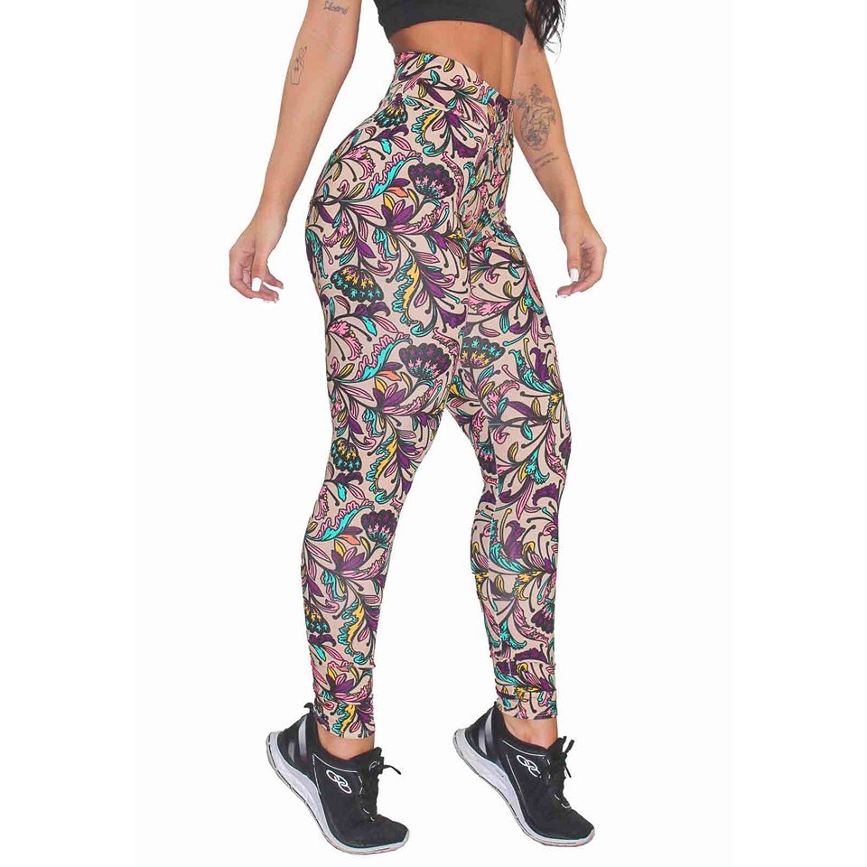 Calça Legging Fitness Estampada Leaves and Flowers REF: OUT-LXE10