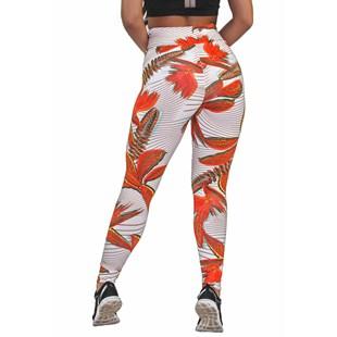 Calça Legging Fitness Estampada Orange Leaves REF: OUT-LXE06