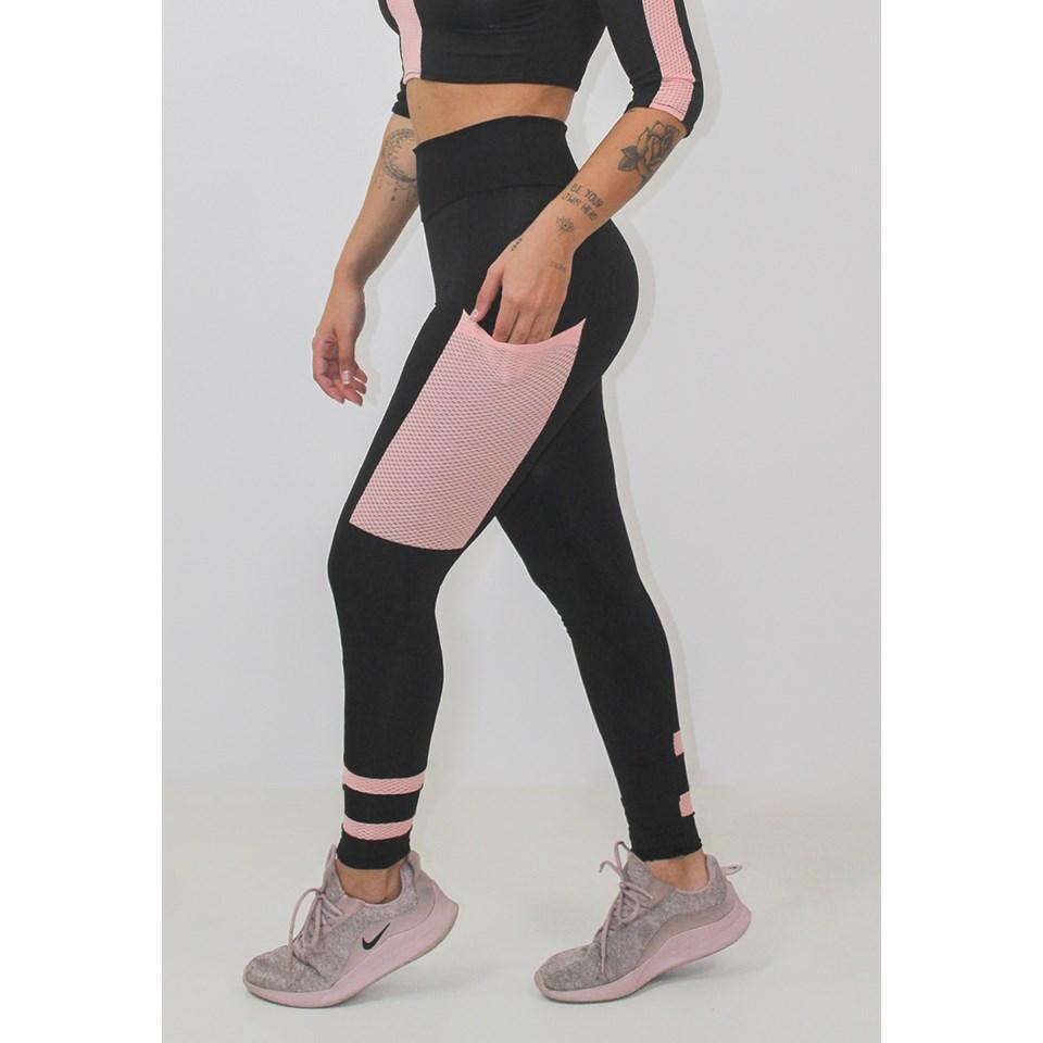 Calça Legging Fitness Feminina Preto Rosê REF: LX152