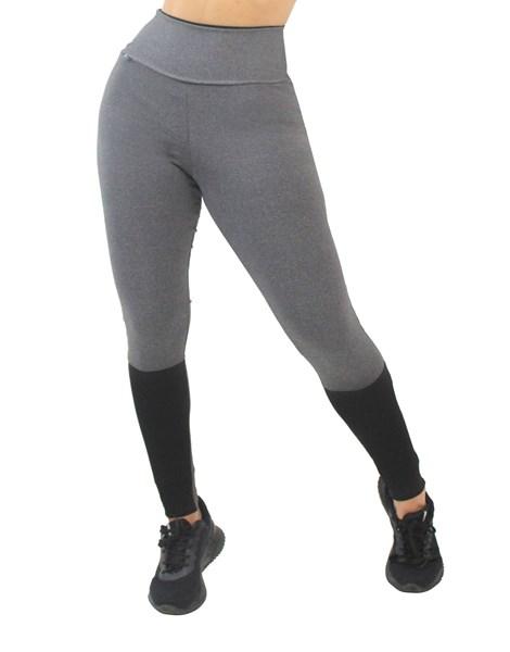 Calça Legging Fitness Mescla com Detalhe Preto REF: LX165