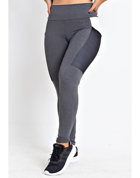 Calça Legging Fitness Mescla Detalhe Branco com Bolso REF: LX176