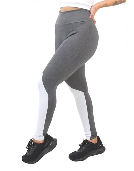 Calça Legging Fitness Mescla Detalhe Branco REF: LX180