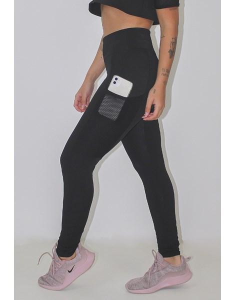Calça Legging Fitness Preta Com Bolso em Tela REF: LX83
