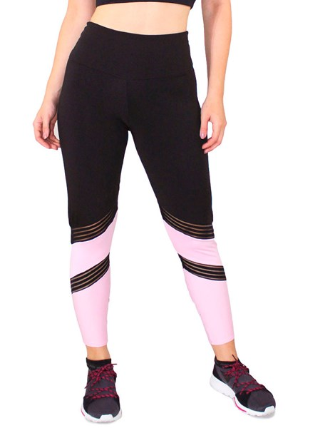 Calça Legging Fitness Preta Detalhe Preto Com Rosê REF: LC48