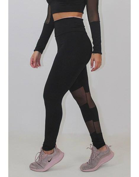 Calça Legging Fitness Preta Detalhe Transparente REF: LX85
