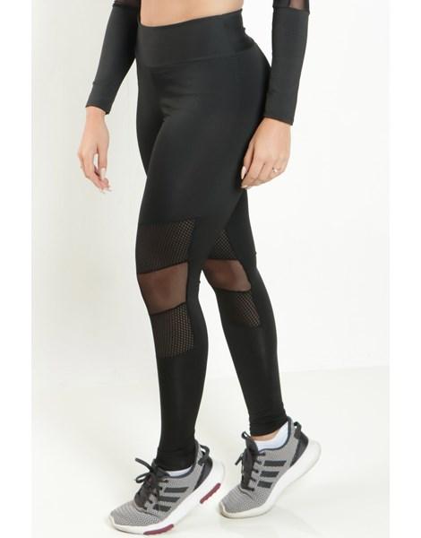 Calça Legging Fitness Preta Transparencia Tela REF: LX129