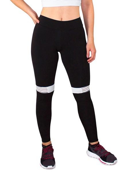 Calça Legging Fitness Preto com Detalhe Branco REF: LC42