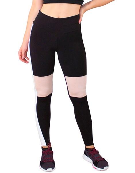 Calça Legging Fitness Preto com Detalhe Chocolate e Branco REF: LC50
