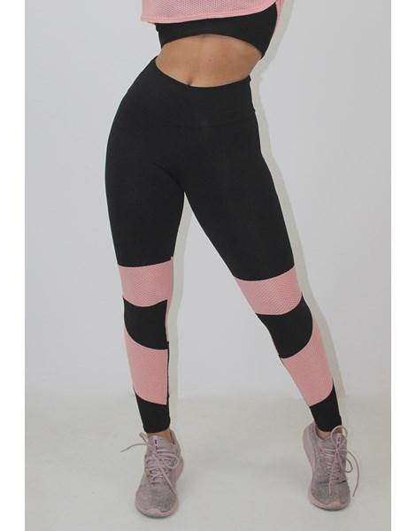 Calça Legging Fitness Preto com Detalhe Rosê REF: LX149