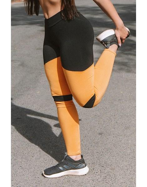 Calça Legging Fitness Preto Com detalhes Amarelo REF: LC31