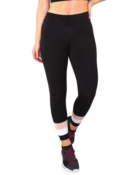 Calça Legging Fitness Preto Com Detalhes Branco e Chocolate REF: LC46