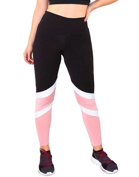 Calça Legging Fitness Preto com Detalhes Branco e Rosê REF: LC49