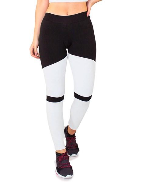 Calça Legging Fitness Preto Com Detalhes Branco REF: LC40
