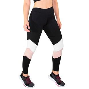 Calça Legging Fitness Preto Com Detalhes Chocolate e Branco REF: LC47